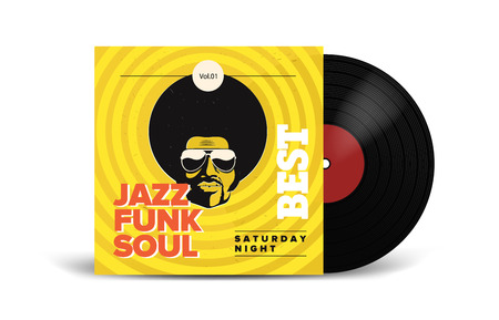 Realistic Vinyl Record with Cover Mockup. Disco party. Retro design. Front view. Illustration