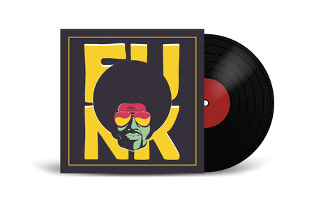 Realistic Vinyl Record with Cover Mockup. Disco party. Retro design. Front view. Ilustração