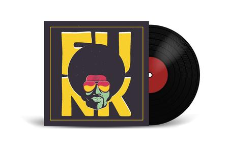 Realistische Schallplatte mit Cover Mockup. Disco-Party. Retro Design. Vorderansicht. Vektorgrafik