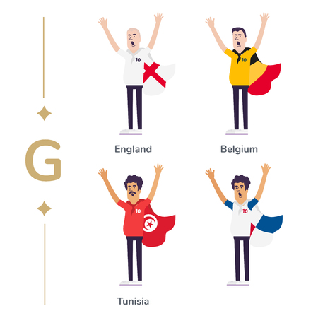 World competition. Soccer fans support national teams. Football fan with flag. England, Belgium, Tunisia. Sport celebration. Modern flat illustration