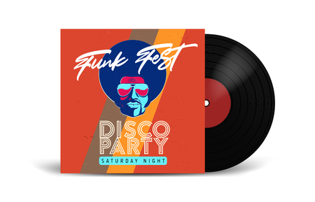 Realistic Vinyl Record with Cover Mockup. Disco party. Retro design. Front view. Stock Photo