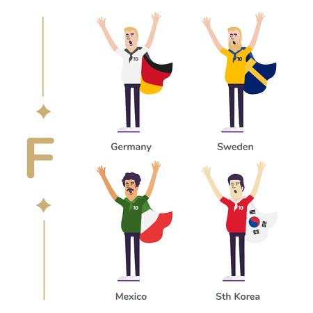 World competition. Soccer fans support national teams. Football fan with flag. Germany, Sweden, Mexico, South Korea. Sport celebration. Modern flat illustration. Banco de Imagens