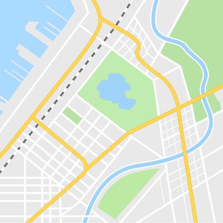 Stadtplanillustration für Navigations-App. Ansicht von oben. Stadtplan mit Hafen und Fluss