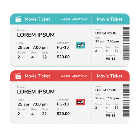 Realistic modern cinema tickets isolated on white background Vectores