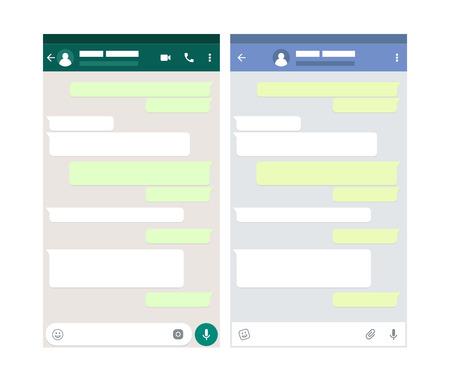 Two mobile messenger mockups. Chat app template. Modern design. Vector illustration