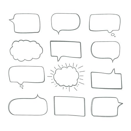 Set of Hand Drawn Comics Style Speech Bubbles.