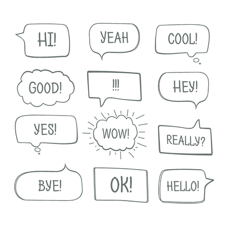 Hand drawn comic speech bubbles with message words vector collection Çizim
