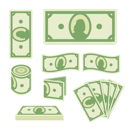 Green dollar banknotes set on white background. Paper money collection. Cash icon. Flat style
