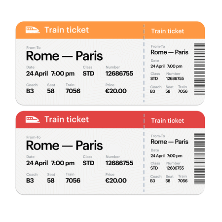 Set of the airline boarding pass tickets. Isolated on white background. Vector flat design. Illustration