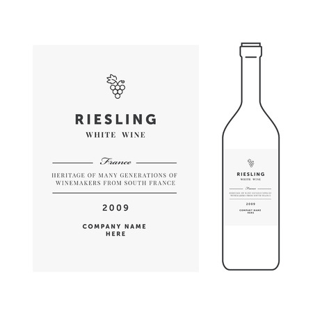 White wine label. premium template. Clean and modern design. Riesling grape sort