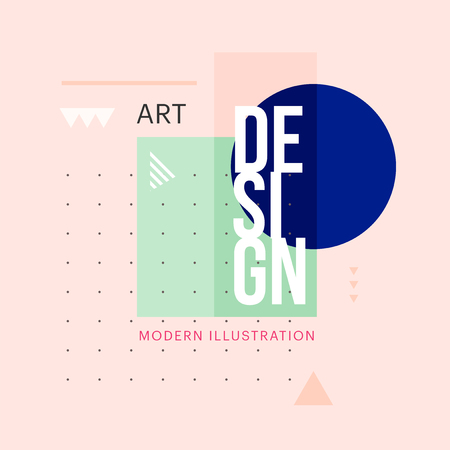 Trendy minimalistic geometric shape design. Vector modern art elements for business cards, invitations, gift cards, flyers, brochures. Çizim