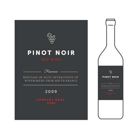 Red wine labels.premium template set. Clean and modern design. Pinot noir grape sort Illustration