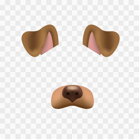 Dog face mask for video chat isolated on checkered background. Animal character ears and nose. 3d filter effect for selfie photo decoration. Brown dog elements