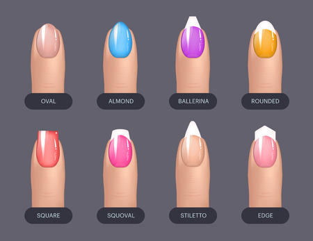 Set of simple realistic colorful manicured nails with different shapes. Vector illustration for your graphic design