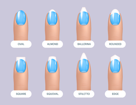 Set of simple realistic blue manicured nails with different shapes. Vector illustration for your graphic design Illustration