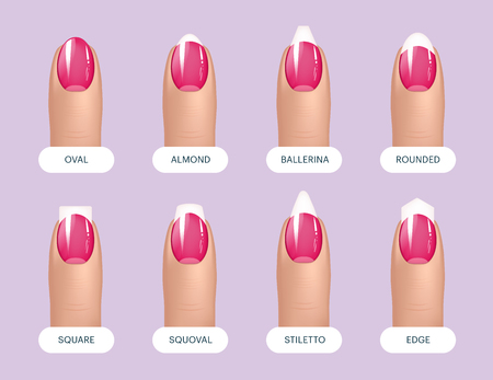 Set of simple realistic pink manicured nails with different shapes. Vector illustration for your graphic design Çizim