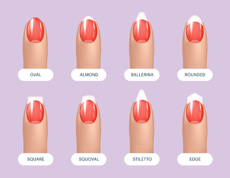Set of simple realistic red manicured nails with different shapes. Vector illustration for your graphic design Illustration