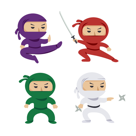 set of the cartoon colored ninjas with katana sword, martial arts poses. Vector clip art illustration