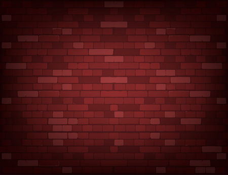 Dark red brick wall. Realistic vector background