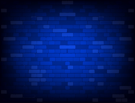 Dark blue brick wall. Realistic vector background. Ilustração