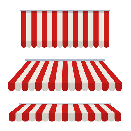 Striped awning. Awning for the cafes and street restaurants. Vector illustration isolated on white background. Stock Photo