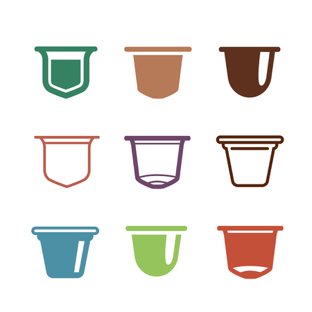 Set of the coffee capsules. Vector flat icons. Çizim