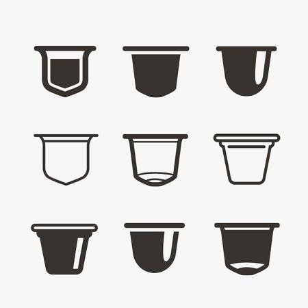 Set delle capsule di caffè. Icone piane di vettore.
