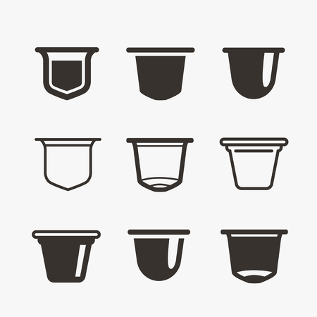 Set of the coffee capsules. Vector flat icons. Vectores
