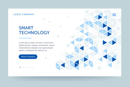Homepage template. Header for website and mobile website. Concept of computer technology. Abstract geometric element. Vector illustration