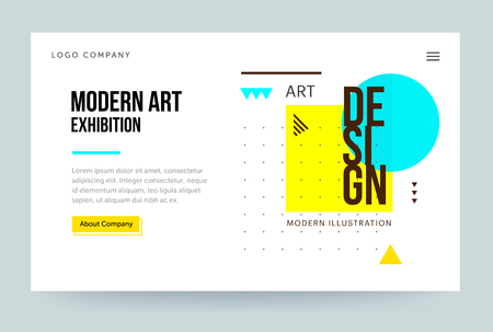 Homepage template. Header for art gallery website and mobile website. Concept of modern art exhibition. Abstract geometric element. Vector illustration