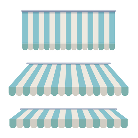 A set of striped awnings, canopies for the store. Awning for the cafes and street restaurants. illustration isolated on white background Stock Photo