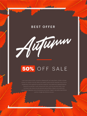 Autumn background layout decorate with leaves for shopping sale or promo poster and frame leaflet or web banner. Vertical poster template Çizim