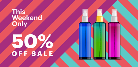 Trendy cosmetic products banner with essence bottles. Modern geometric background with stripes. Big sale poster template