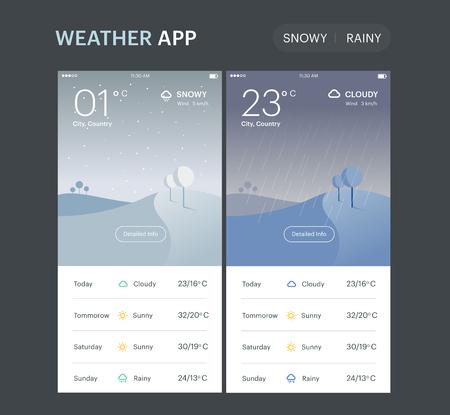 Weather Application UI UX Vector Illustration Ilustração