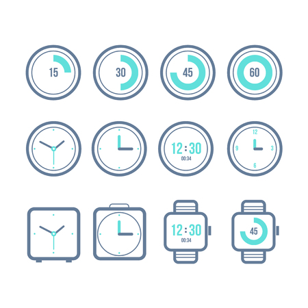 Vector timers set. Variety of the clock icons. Modern flat style Çizim