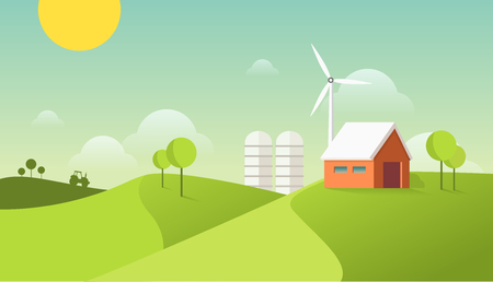 Eco village illustration. Organic farming concept. Modern flat design style. Barn house on the field with windmill and tractor Çizim
