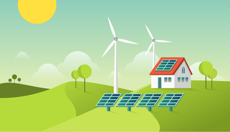 Eco friendly modern house. Green energy illustration. Solar and geothermal power. Vector concept