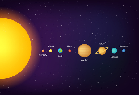 infographic Solar system planets on universe background vector illustration. Gradient colors