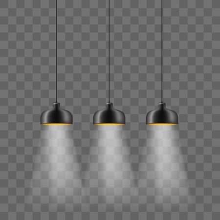 Moderno conjunto de iluminación eléctrica con pantalla de lámpara metalizada negra. Lámparas de techo tipo loft aisladas sobre fondo transparente. Diseño interior minimalista