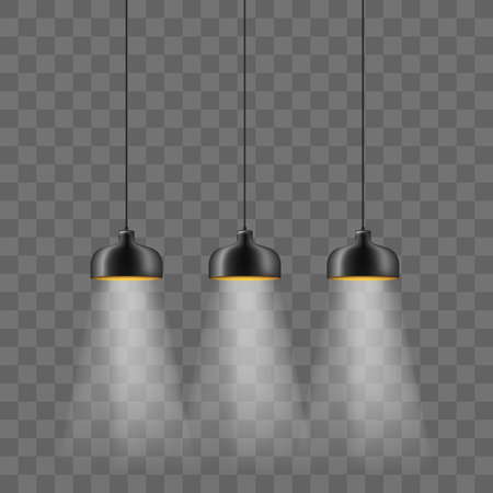 Modern black metallic lamp-shade electric illumination set. Loft ceiling lights isolated on the transparent background. Minimalistic interior design Illustration