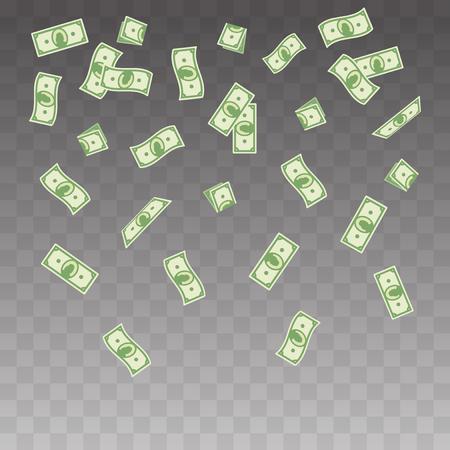 Vector illustration paper money falling on a transparent background. Flying banknotes money set Ilustração