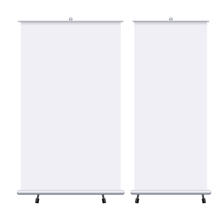 Blank roll up banners set isolated on the white background. Design template blank pop up banner for presentation, corporate training and briefing. Vector mockup