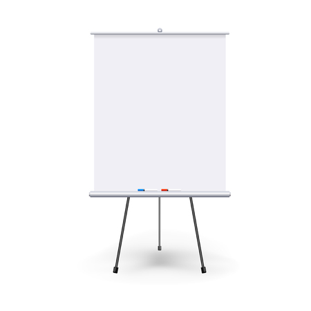 Vector realistic blank flipchart with three legs isolated on white clean background. White roll up banner for presentation, corporate training and briefing. Vector mockup