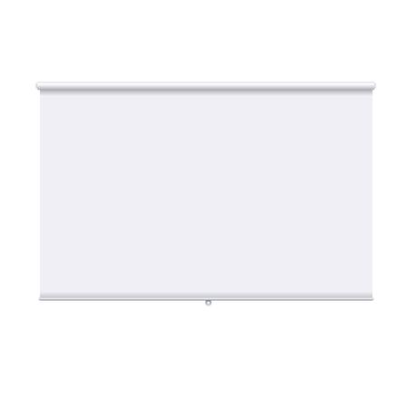 Banner enrollable horizontal aislado en el fondo blanco. Plantilla de diseño de la pantalla del proyector. Banner enrollable blanco para presentación, capacitación corporativa e información. Maqueta de vector