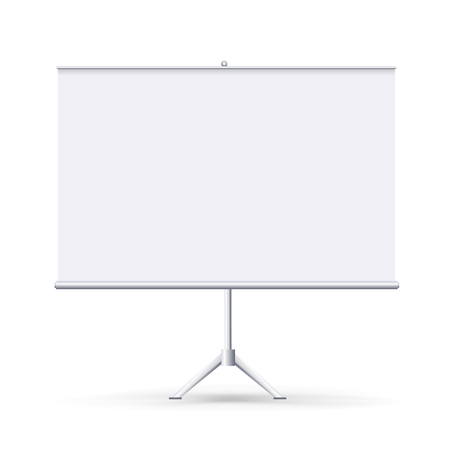 Vector realistic blank flipchart isolated on white clean background. White horizontal roll up banner for presentation, corporate training and briefing. Vector mockup