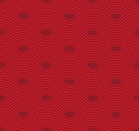 Abstract wave pattern. Red ripple background. Flat geometric design