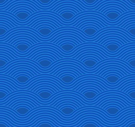 Abstract wave pattern. Blue ripple background. Flat geometric design Ilustração