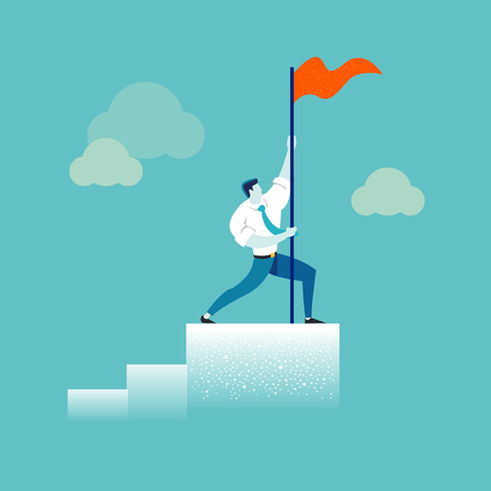 Strong businessman holding a red flag on top of the column graph. Business concept of leadership, success, victory, goal, achievement. Modern trendy vector illustration Çizim