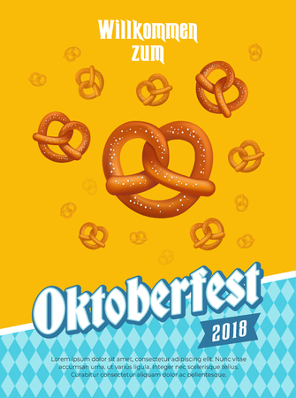 oktoberfest poster with pretzels and traditional design elements. Vector illustration. Çizim