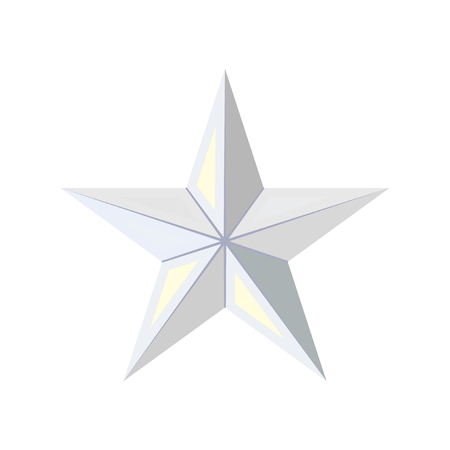 Silver star icon. Game achievements and awards. 3d style . Rank illustration.